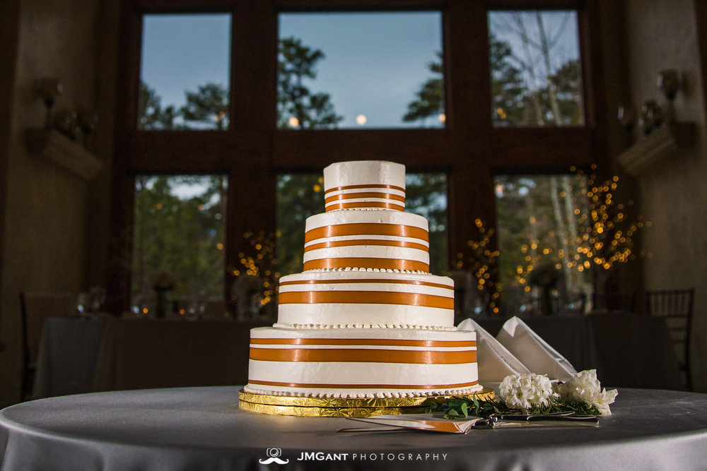 Indulge Bakery Wedding cakeat the Della Terra Mountain Chateau in Estes Park Colorado. Photographed by Jared M. Gant of JMGant Photography.