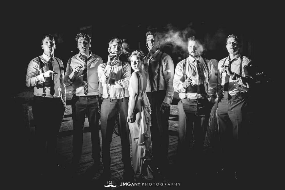 Incredible backlit cigar groom wedding portait, Winter Park, mountain wedding at the Lodge at Sunspot, photographed by JMGant Photography
