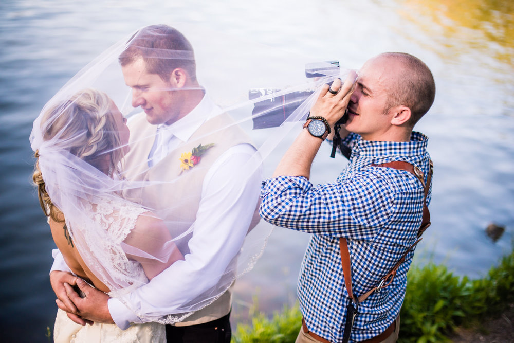 Wedding photos at the dam in Evergreen Colorado, photographed by JMGant Photography