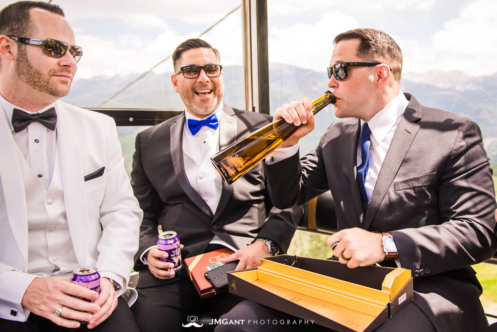 Vail Colorado Wedding | Riding the gondala up | Colorado wedding photographer | © JMGant Photography | http://www.jmgantphotography.com/