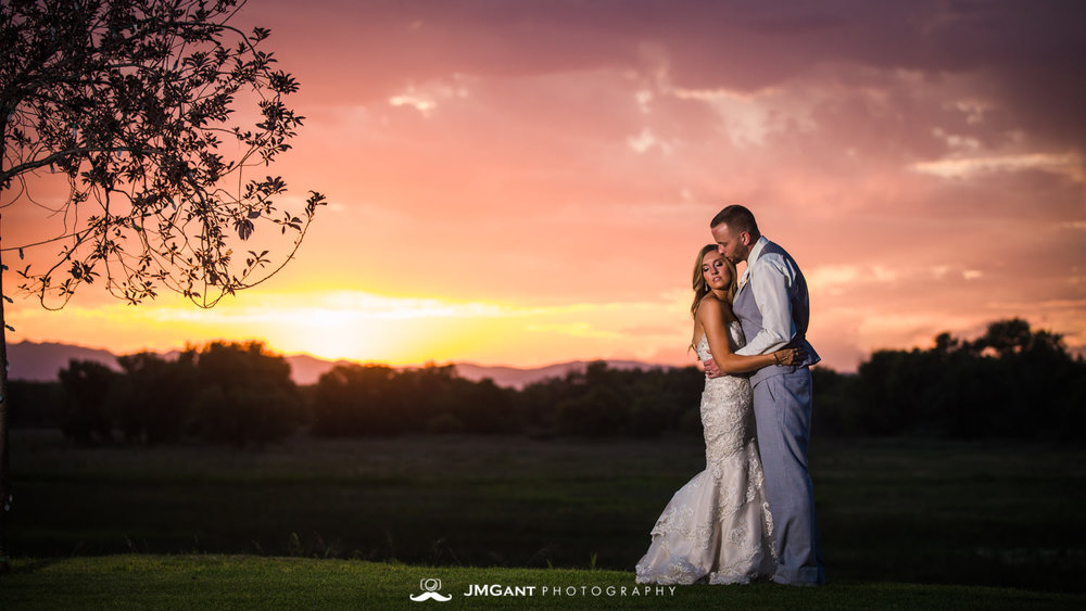 Platte River Fort Wedding | Bride and groom at sunset | Greeley Colorado wedding photographer | © JMGant Photography | http://www.jmgantphotography.com/