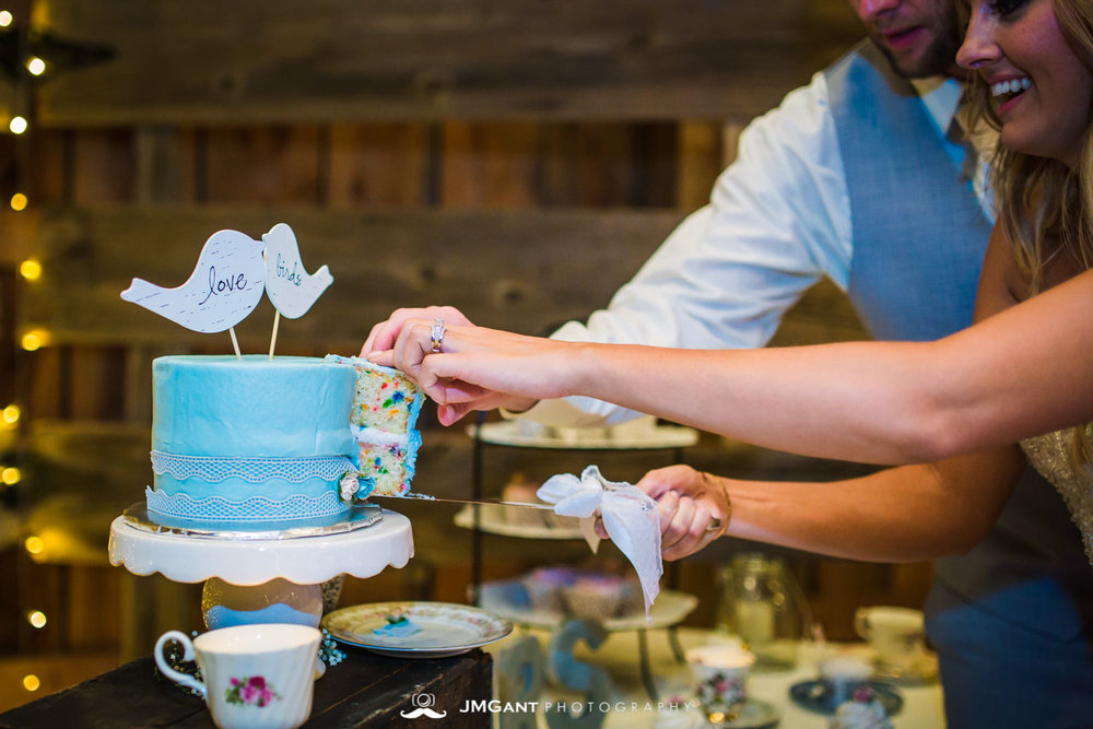 Platte River Fort Wedding | Cutting the cake | Greeley Colorado wedding photographer | © JMGant Photography | http://www.jmgantphotography.com/