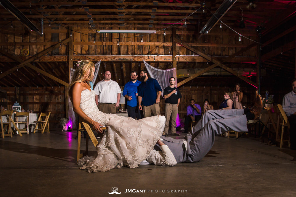 Platte River Fort Wedding | boutquet and garter toss | Greeley Colorado wedding photographer | © JMGant Photography | http://www.jmgantphotography.com/