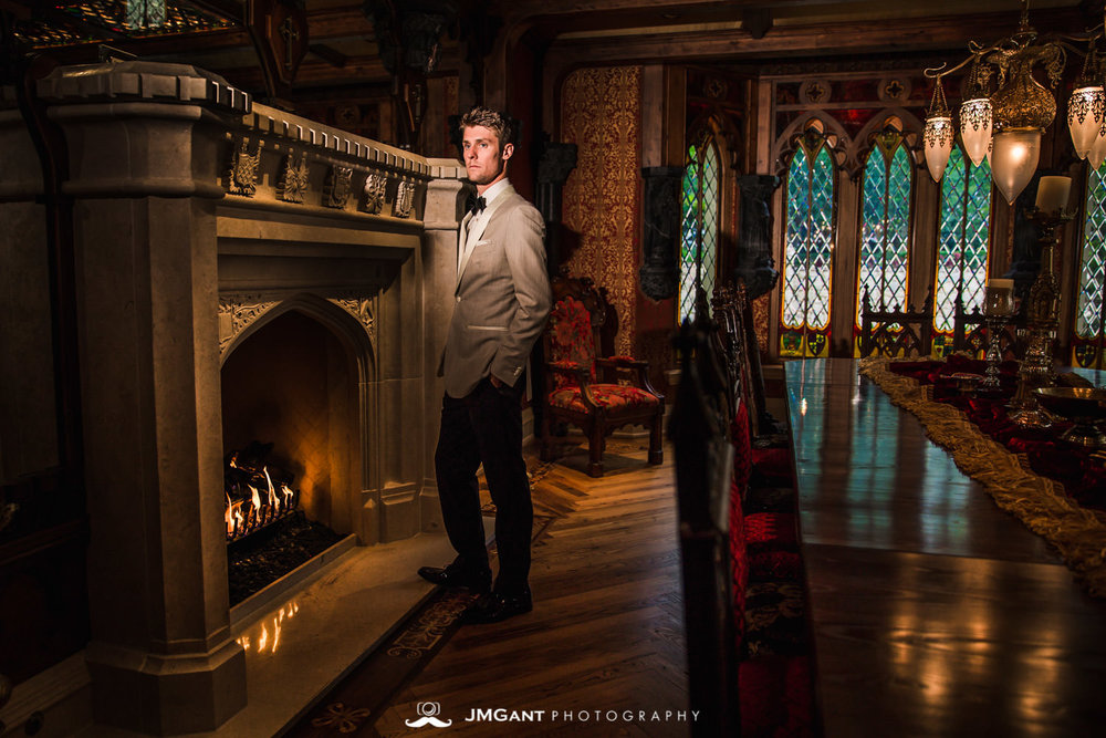 Denver Colorado Wedding | Groomals in front of fireplace | Colorado wedding photographer | © JMGant Photography | http://www.jmgantphotography.com/