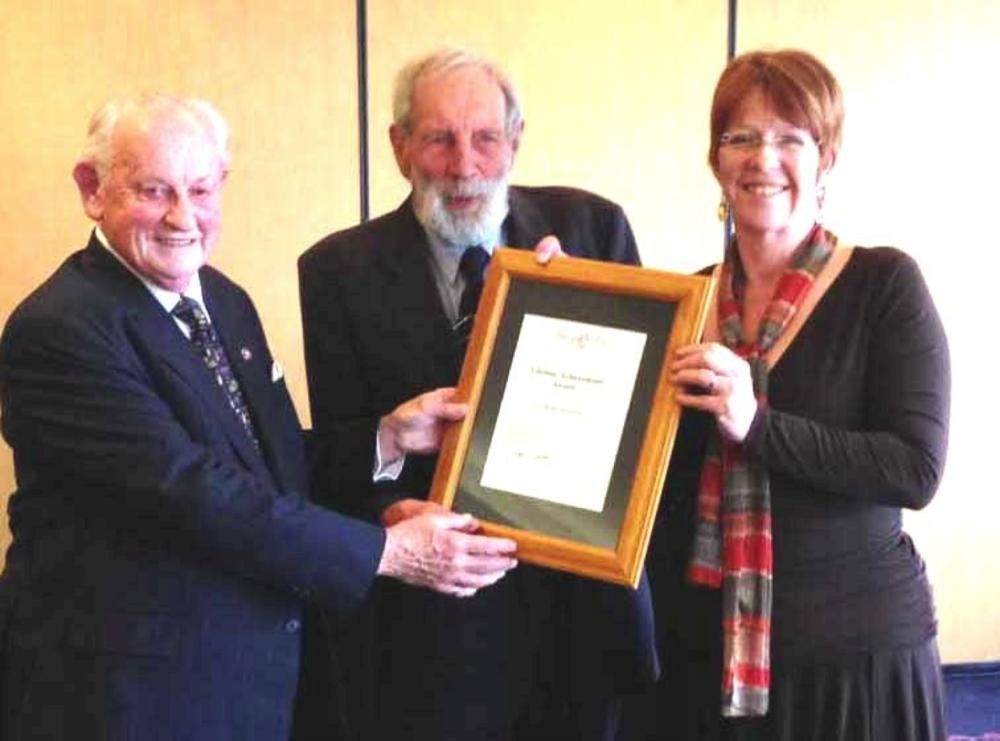 Graham (left); Peter Bush (centre) with Mayor Celia Wade-Brown
