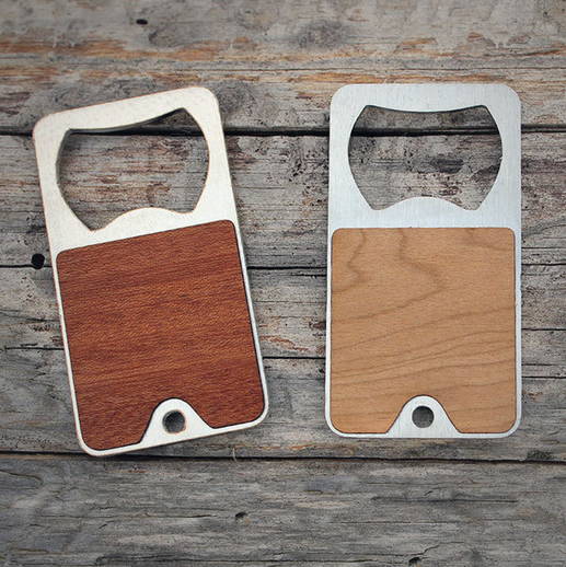 Classy bottle openers with real wood detailing by Port Rhombus. One of these paired with a six pack is the perfect way to show your appreciation. $14