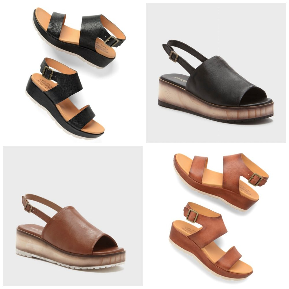 Upper Left: Kork Ease Khloe Wedge Sandal in Black           Upper Right: Kelsi Dagger Dumont Wedge in Black Lower Left: Kelsi Dagger Dumont Wedge in Tan                     Lower Right: Kork Ease Khloe Wedge Sandal in Tan