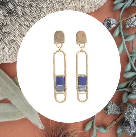 Brace Earrings- showcase lapis colored glass bead details.