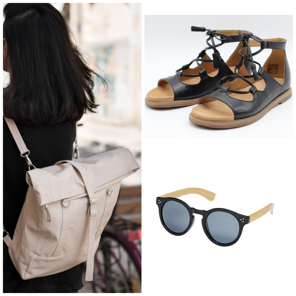 Lee Coren vegan backpack, Clarks 'Corsio' sandal,  Blue Planet sunglasses