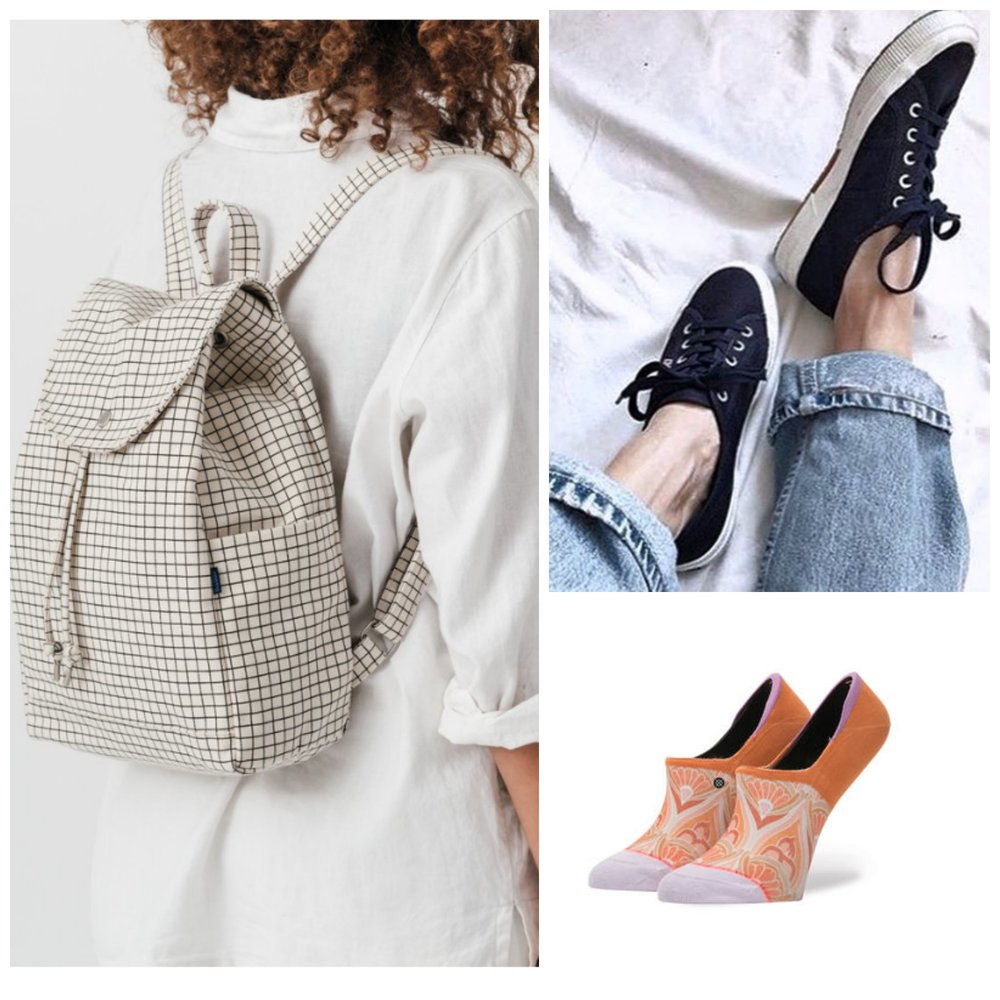 Baggu canvas backpack, Superga sneakers, Stance invisible liners
