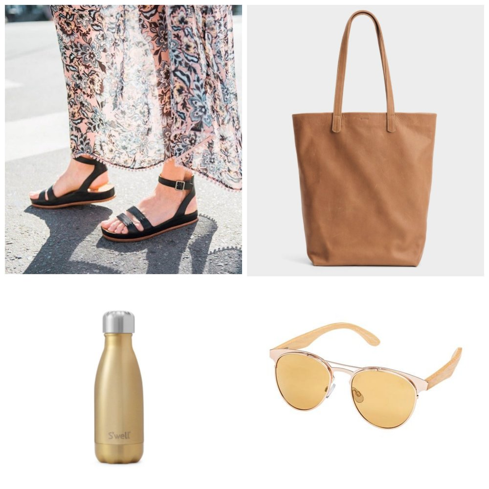 Korkease 'Audrina' sandal, Baggu leather tote, 9oz S'well bottle, Blue Planet sunglasses
