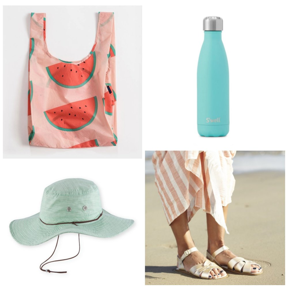 Baggu shopper, S'well bottle, Pistil 'Cricket' sunhat, Saltwater sandals