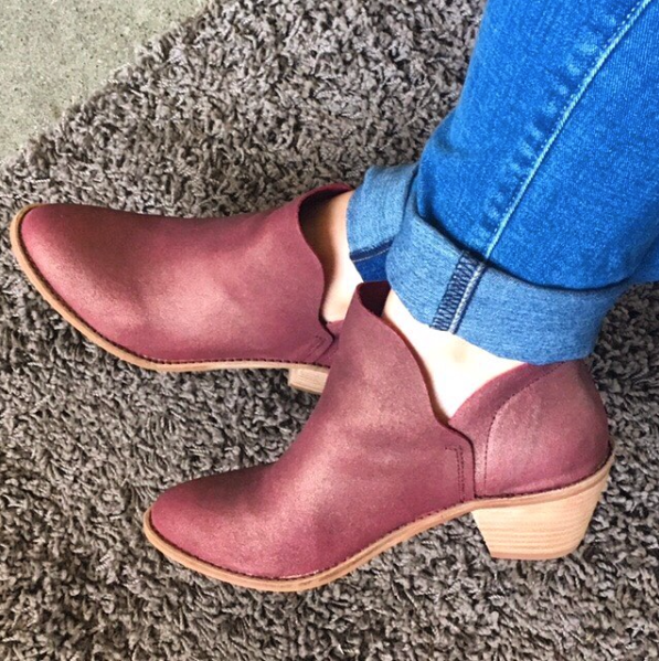 Burgundy. Unexpected, but goes with everything, Seen here: Kelsi Dagger Kenmare ankle booties.