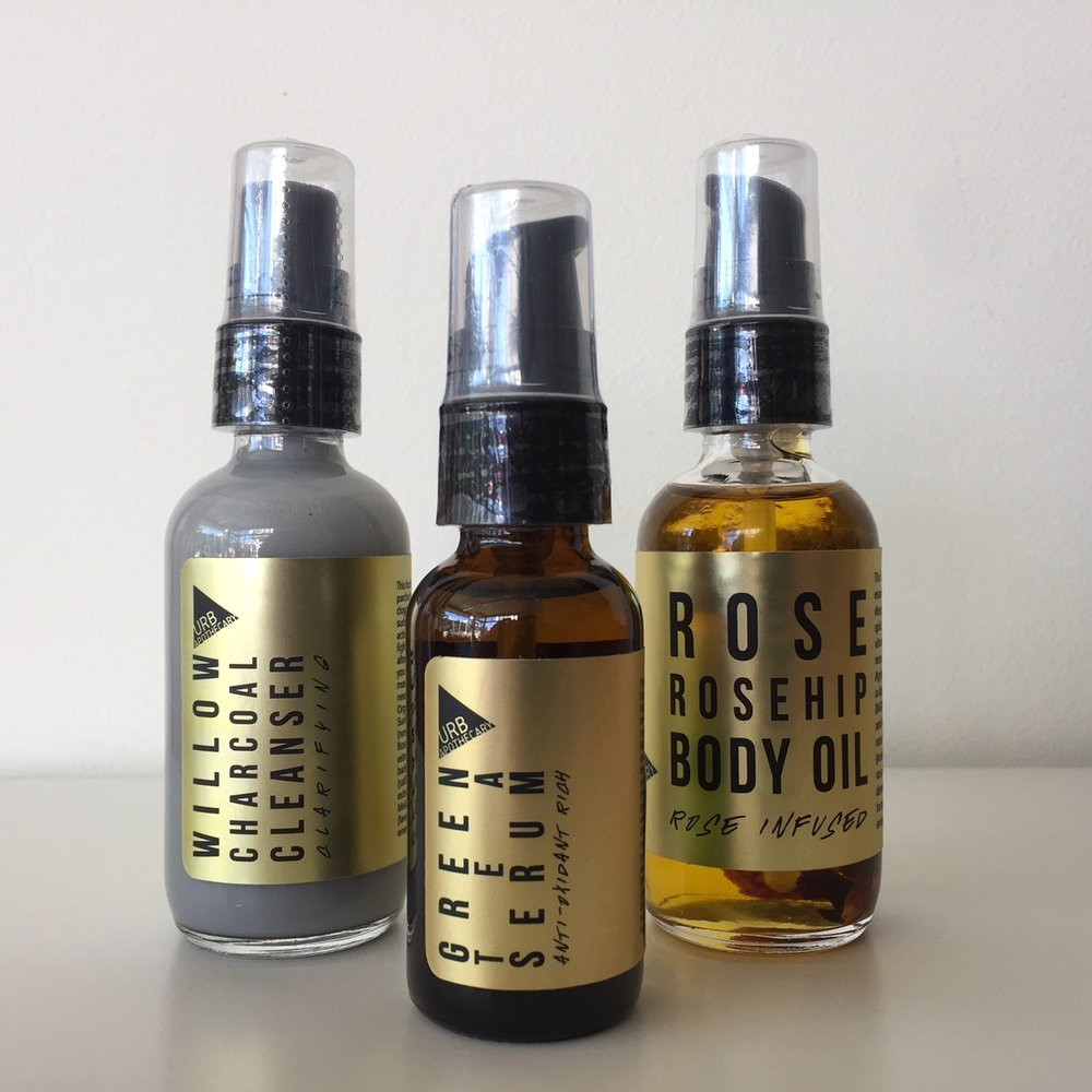 Urb Apothecary's Willow Charcoal Cleanser, Green Tea Serum, Rose Rosehip Body Oil