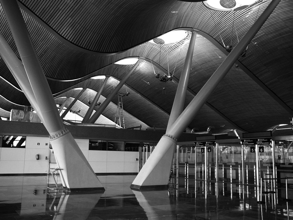 6. Bamboo, limestone, aluminium, steel, glass. Madrid Barajas Airport, Richard Rogers. © Bill Caplan