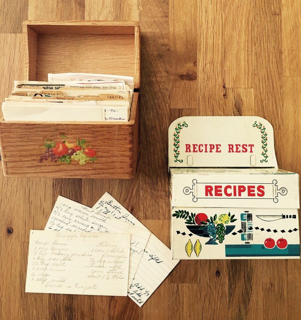 Just a few of the fantastic recipe boxes my sister Mel has given me.