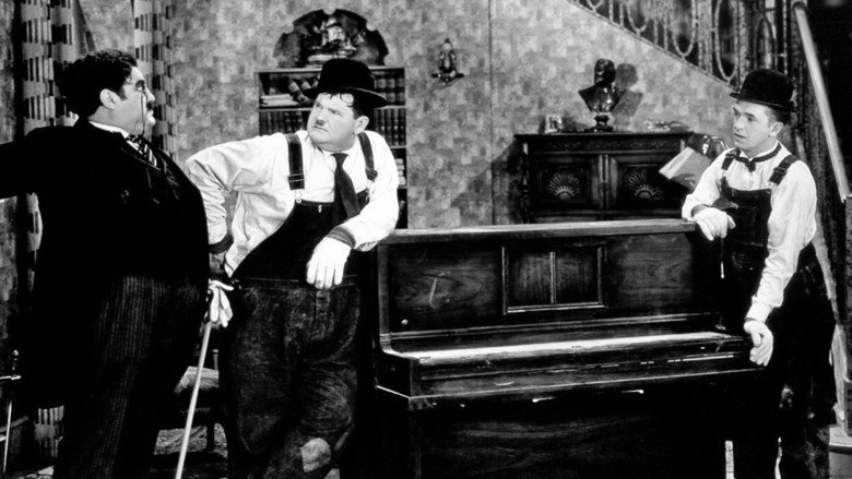 Interesting delivery .... Laurel and Hardy in The Music Box