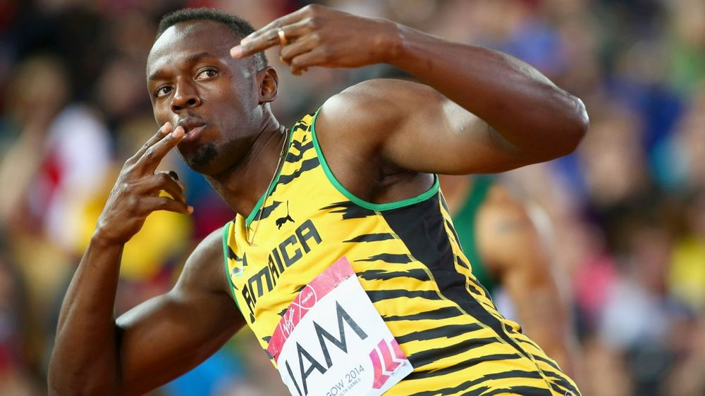Usain Bolt ... relaxed? Just a bit ...