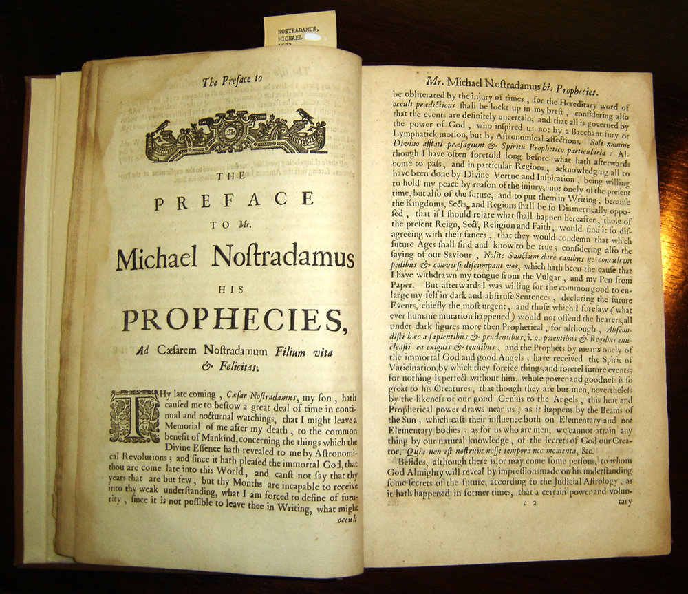 Garencières' 1672 English translation of Nostradamus's Prophecies