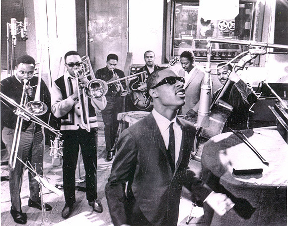 Stevie Wonder in session with the Funk Brothers inside Motown's Snakepit in 1967