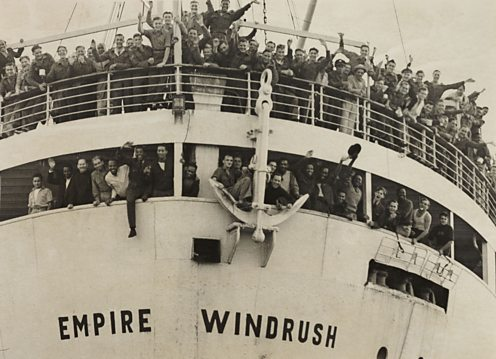 HMT Empire Windrush was originally a German ship, MV Monte Rosa, but was a British spoil of war and later carried thousands of West Indian immigrants to the UK in the 40s and 50s