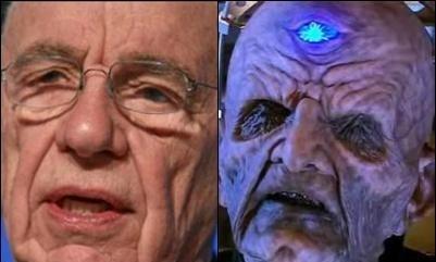Davros, left, and Rupert Murdoch, right.