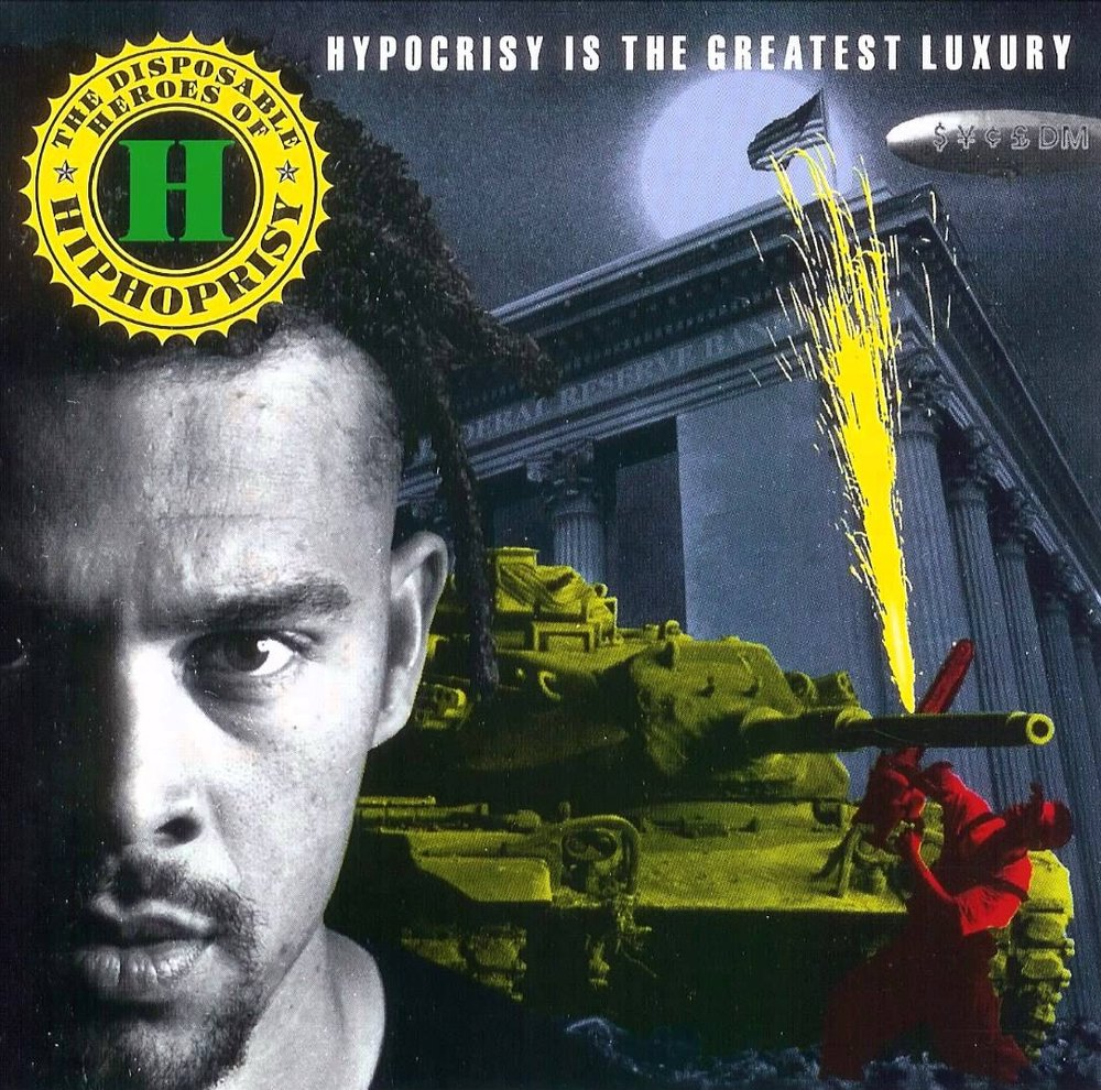 Michael Franti on the cover of The Disposable Heroes of Hiphoprisy's 1992 album
