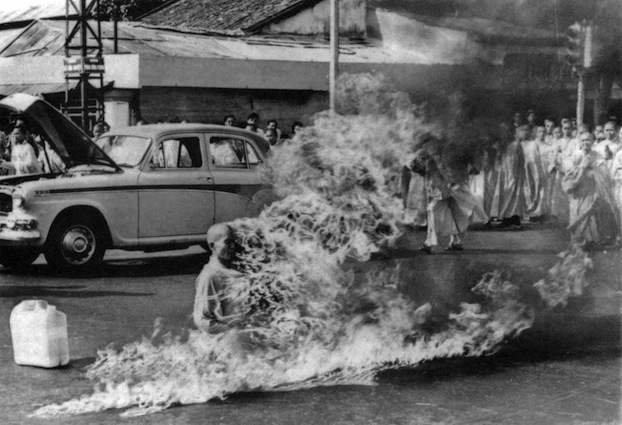Malcolm Browne's photograph of a self-immolating monk protesting against the killing of Buddhists by a US-backed Vietnamese regime in 1963