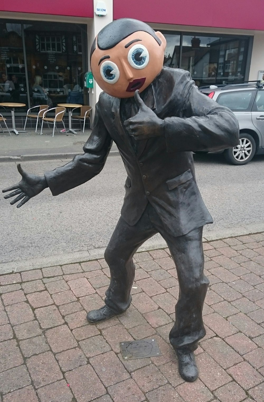 The statue of Frank Sidebottom in Timperley, south Manchester