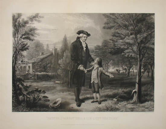 1867 engraving by John C McRae showing a young George Washington who 'could not lie'