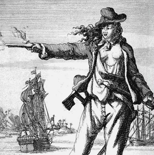 Anne Bonny (1697–1720). Engraving from Captain Charles Johnson's General History of the Pyrates (1st Dutch Edition, 1725)