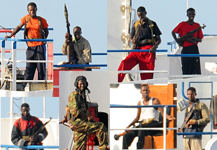 Somali pirates on the MV Faina in 2008