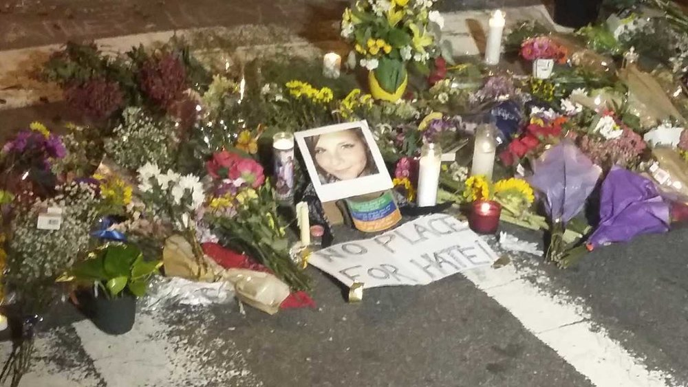 Tributes to Heather Heyer, who was killed when a white supremacist drove a car into a crowd in Charlottesville