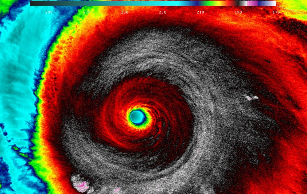 Image of Hurricane Patricia (2015) which, off the Pacific coast of Mexico, reached speeds of 345 km/h (215 mph)