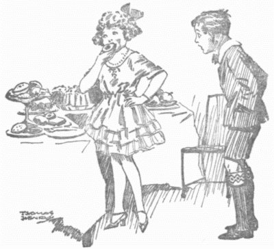William watches Evangeline Fish have her cake and eat it. Illustration by Thomas Henry from Richmal Crompton's books of the 1920s