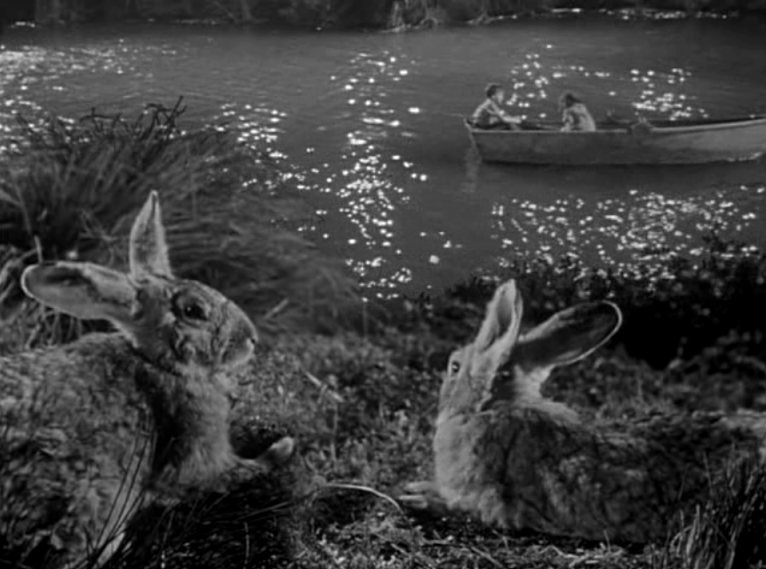 Rabbits look on during Pearl's song in Night of the Hunter (1955)