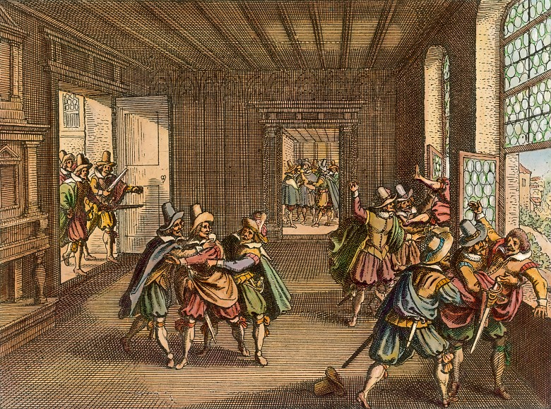 Matthäus Merian the Elder: The Defenestration of Prague, 1646.