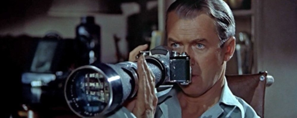 Jimmy Stewart's on the lookout in Rear Window