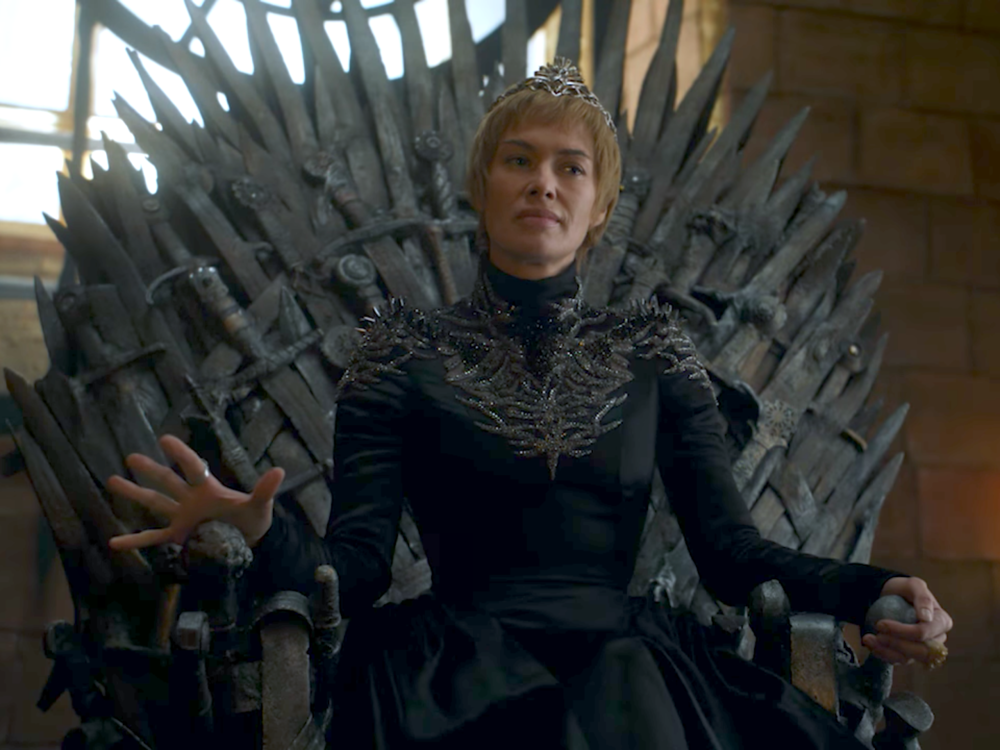 On the throne. Game Of Throne's Cersei Lannister. A bit spiky.
