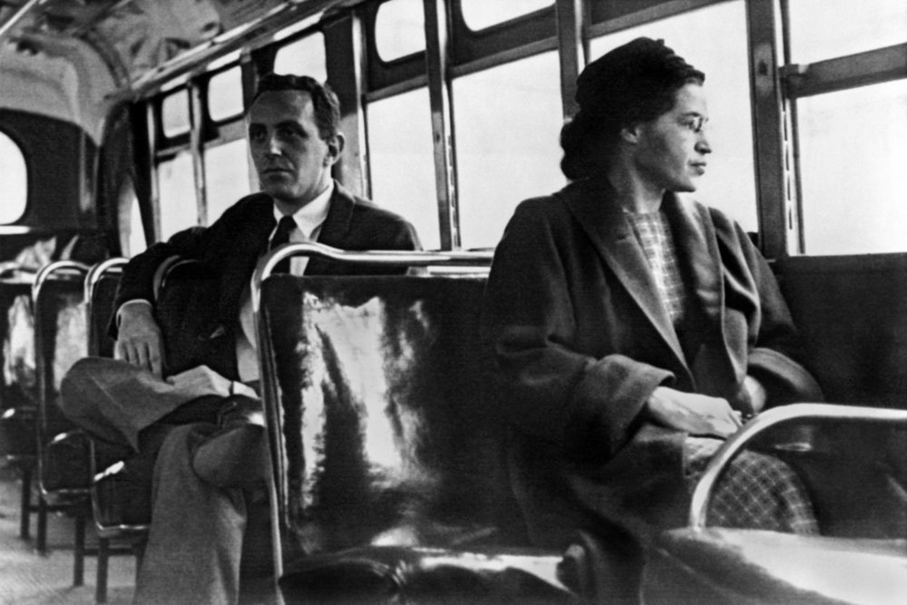 Rosa Parks. Helping change the course of history by keeping her seat in Montgomery, Alabama, later seen here in 1956
