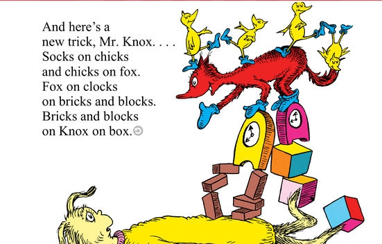 Dr Seuss's clever Fox In Socks gets onomatopoeic on Knox