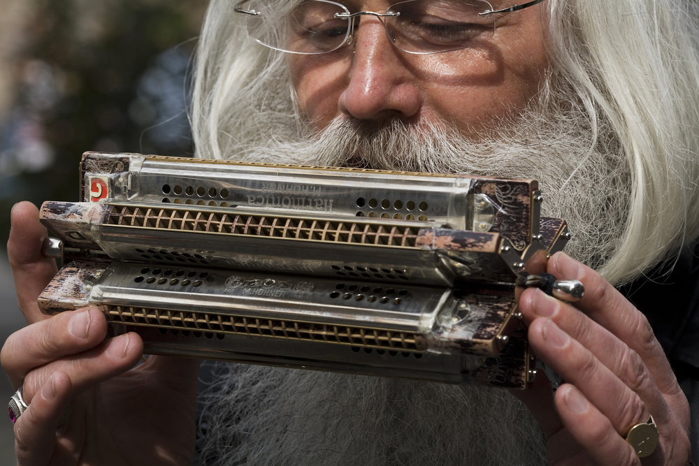 Some harmonica come custom made. This double-decker beast looks like the top of a typewriter