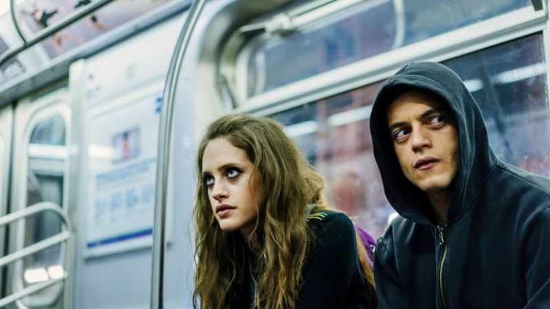 A scene from anonymous hacker thriller series Mr Robot, starring Rami Malek as the complex central figure
