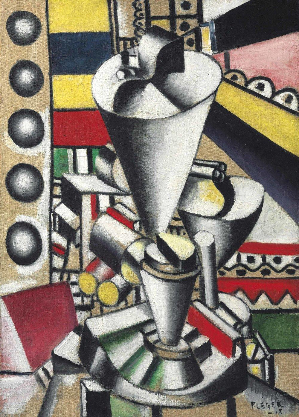 Sounds of a new century:Fernand Léger 's 1918 work, Nature morte aux éléments mécaniques