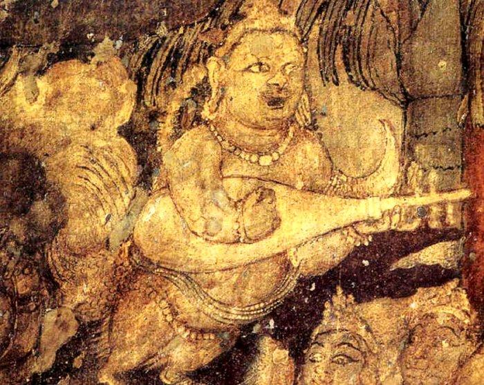 Ajanta Cave painting:Kinnara playing Kachchapa Vina