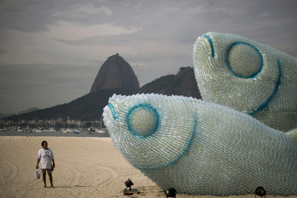 Recycled plastic beach sculpture in Rio