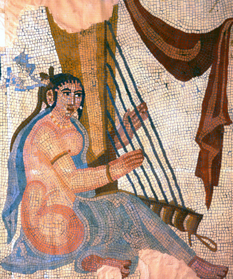 Early harp mosaic from Bishapur, ancient Persia