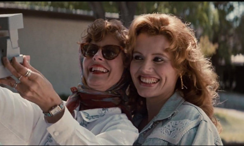 Early selfie? Friends to the end in Thelma & Louise.