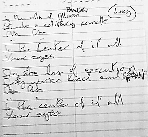 The spidery lyrics of David Bowie - Blackstar early version.