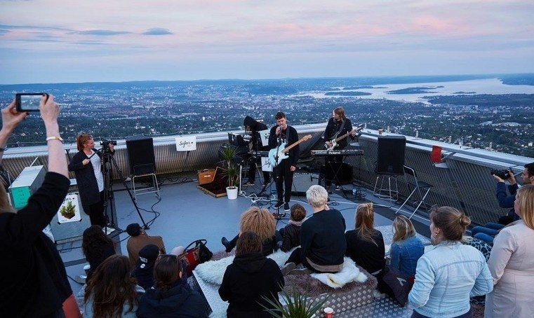 Higher still: the Beatles once played on a rooftop, but how about at the top of Holmenkollen ski jump in Oslo, Norway?